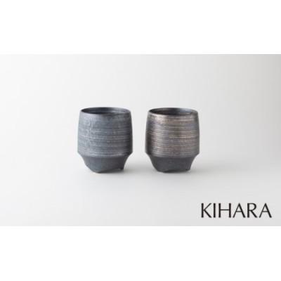 A12-42 KIHARA 香酒盃L 晶金・銀かすりペア