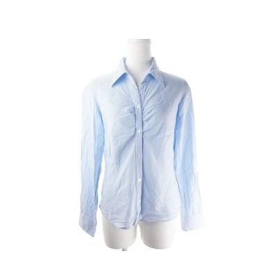 【中古】コムサイズム COMME CA ISM シャツ オープンカラー 長袖 ストライプ L 青 ブルー /AH15 ☆ レディース 【ベクトル 古着】