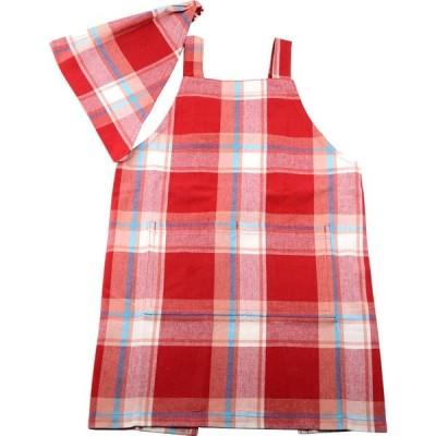 キッズエプロンM コラール レッド RD 三角巾付き 調理実習 親子でお揃い フレンズヒル
