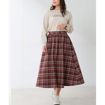 【ハニーズ】 チェックギャザースカート レディース レッド L Honeys