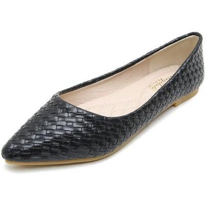 [W.L.M] レディース フラット シューズ ポインテッドトゥ 靴 ローヒール パンプス JP3381807-hei-37