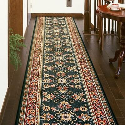 廊下敷き 廊下マット ベルギー製 廊下用絨毯 〜ラリスタン〜 グリーン 幅66cm×長さ900cm