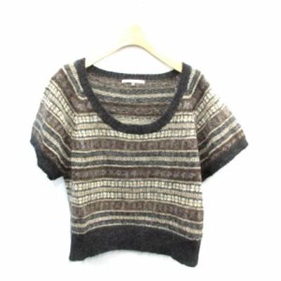 【中古】ヴラス ブラム Vlas Blomme ニット セーター 半袖 ウール リネン 1 黒 ブラック ベージュ 茶