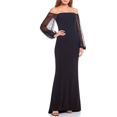 エリザジェイ レディース ワンピース トップス Off-the-Shoulder Long Sleeve Scuba Crepe Mermaid Gown Black