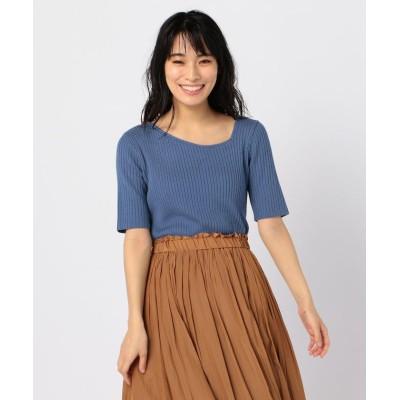 【フレディアンドグロスター】 変形衿ワイドリブニット レディース ブルー 38 FREDY&GLOSTER