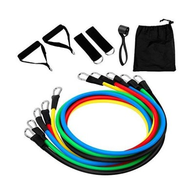 SweetLF 11PCS Exercise Bands Set, Resistance Bands, Portable Home Workouts Accessories, with Door Anchor, Handles, Legs Ankle Straps for Res