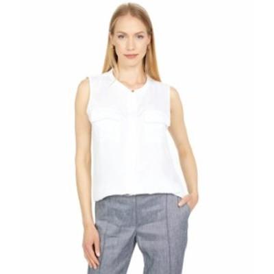 カルバンクライン レディース シャツ トップス Sleeveless Button-Down Top with Pocket Front Detail White