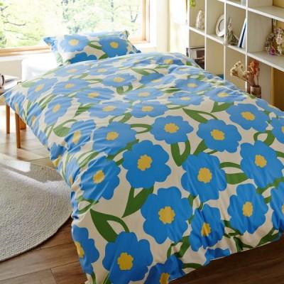 年中使える綿素材の掛け布団カバー(カラダス) ブルー シングル