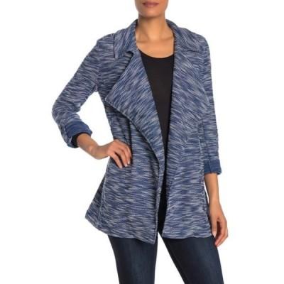 バガテル レディース ジャケット&ブルゾン アウター Drape Front Tweed Blazer BLUE