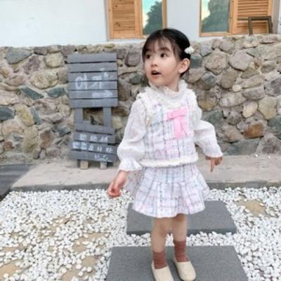 韓国子供服 ワンピース 女の子 新作 タンクトップ ミニスカート セットアップ プリント柄 韓国風 結婚式 二次会 ダンス発表会 発表会 通