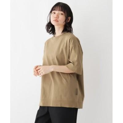 抗菌防臭 ビッグシルエット リブ仕様 ロゴワンポイント刺繍Tシャツ