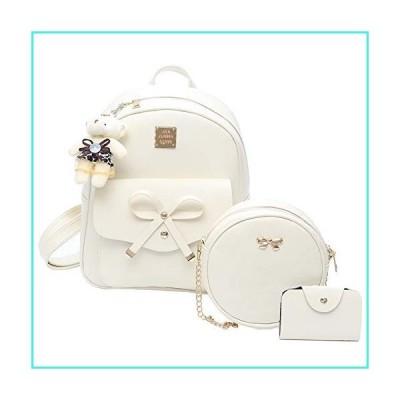 【新品】ZGWJ 女の子用 かわいいミニレザーバックパック 3ピース ファッション 蝶結び 小型 バックパッ