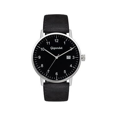 Gigandet Men's Quartz Watch Minimalism Analog Leather Strap Silver Black G26-003 並行輸入品
