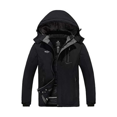Wantdo Men's Mountain Waterproof Ski Jacket Windbreaker Snow Coat Black L(並行輸入品)