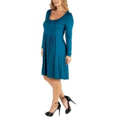 24セブンコンフォート レディース ワンピース トップス Knee Length Pleated Long Sleeve Plus Size Dress