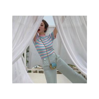 送料無料  レディース ハイネック マルチボーダー柄 半袖ニットソー Tシャツ カットソー トップス