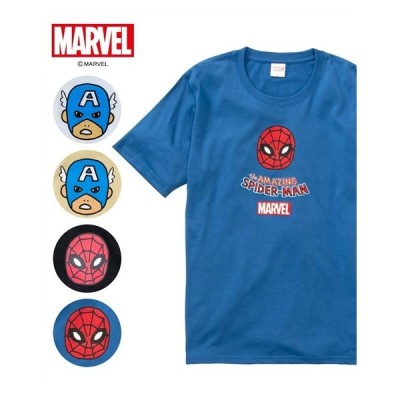 """マーベル(MARVEL) フェイスプリント半袖Tシャツ メンズ M/L/LL """"キャプテン・アメリカ""""と""""スパイダーマン""""をポップなイラストで表現!"""