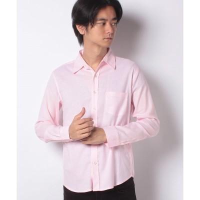 【スタイルブロック】無地ストライプ綿麻長袖シャツ