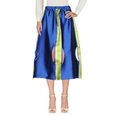 PREXSENCE 7分丈スカート ブライトブルー 38 ポリエステル 88% / シルク 12% 7分丈スカート