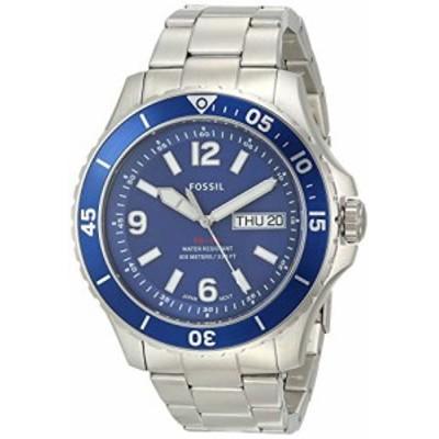 腕時計 フォッシル メンズ Fossil Men's FB-02 Quartz Stainless Three-Hand Watch, Color: Silver, Blue