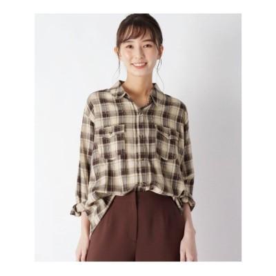 シューラルー SHOO-LA-RUE 【M-3L】なめらかタッチ胸ポケットシャツ「デリシャツ」 (ベージュチェック)