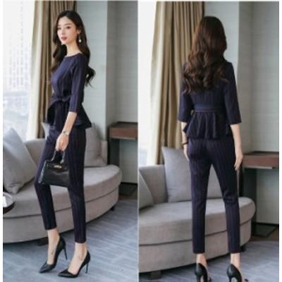 セットアップ  韓国ファッション パンツスーツ ペプラム ストライプ フォーマル オフィス きれいめ 大人コーデ おしゃれ  お呼ばれ パー