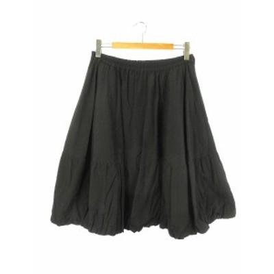 【中古】センソユニコ M2 ナイロン バルーン スカート 40 ブラック 黒 フレア ボトムス レディース