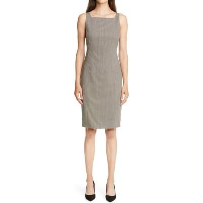 セオリー THEORY レディース ワンピース ワンピース・ドレス Square Neck Wool Sheath Dress Brown Multi