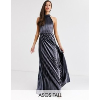 エイソス レディース ワンピース トップス ASOS DESIGN Tall velvet halter waisted pleated maxi dress Silver