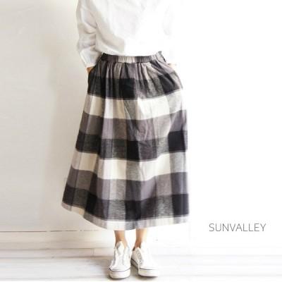 SUNVALLEY サンバレー 綿 麻 リネン コットン 平織 起毛 ブロックチェック タック スカート SK8117202 sunvalley 服 大人の ナチュラル ゆったり シンプル