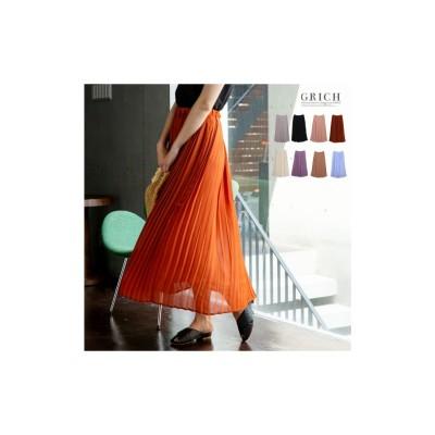 GROWING RICH 繊細なプリーツが上品な揺れ感を演出ジョーゼットプリーツスカート ラベンダー