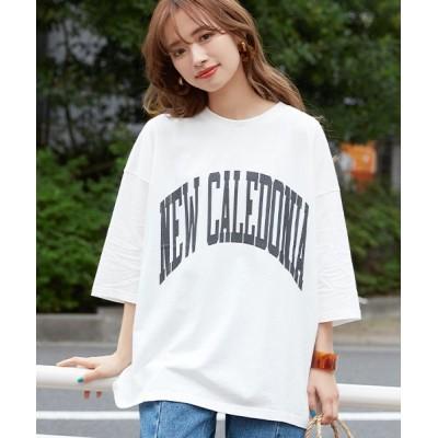 (coca/コカ)【7分袖】ビッグロゴ Tシャツカットソー/レディース WHITE