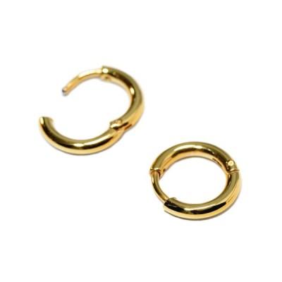 【バラ売り/1個】 ピアス サージカルステンレス シンプルなパイプ型フープピアス 幅2.0mm 直径12.0mm 金色 ゴールド| レディース メンズ