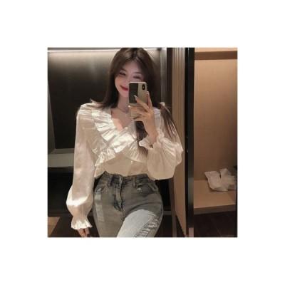 【送料無料】単一色 襟 シャツ 女 秋服 気質 何でも似合う デザイン 感 ルース | 364331_A63767-9529261