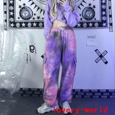 タイダイパンツ韓国ストリートオルチャンK-POPHIPHOP派手原宿系ダンス衣装V系カーゴレッスン着ボトムスPA-1458