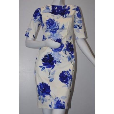 ワンピース レラローズ LELA ROSE Clarie Floral Boat Neck Sheath Dress Ocean White Blue Rose 4