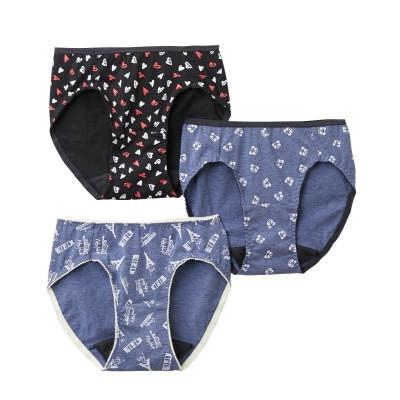 綿混ストレッチプリントサニタリーショーツ昼用3枚組(L) サニタリー(生理用ショーツ)Panties