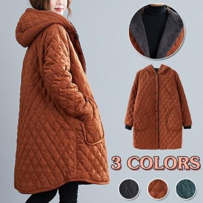 コート 大きいサイズ  レディース キルティングコート ジャンパー フード付き あったか 秋冬 裏起毛 アウター