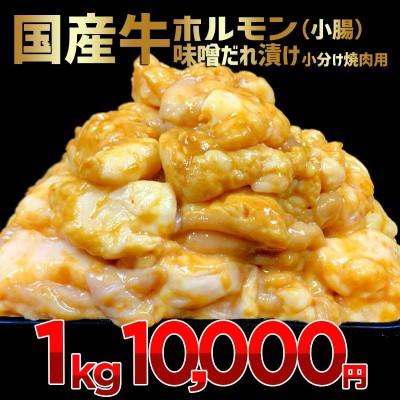 国産牛ホルモン(小腸)味噌だれ漬け 小分け焼肉用 1kg