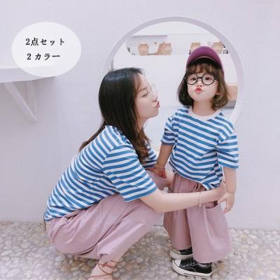 子供服親子  レディース おそろい半袖 2点セット上着 ズボン 2点送料無料 キッズ  tシャツ  親子ペア 親子 ペアルックペアtシャツ 可愛い顔のプリント
