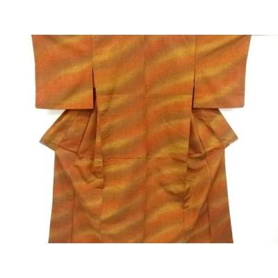 宗sou 暈し手織り紬単衣着物【リサイクル】【着】