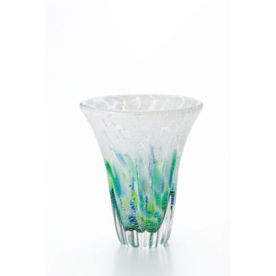 アデリア 津軽びいどろ 花瓶 ガラス フラワーベース おしゃれ インテリア 花器 かびん 花入れ 花びん 贈答 紫陽花 天開花器 (小) 化粧箱入