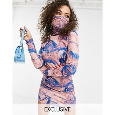 ファッションキラ レディース ワンピース トップス Fashionkilla Exclusive body-conscious dress with face covering option in marble print Multi