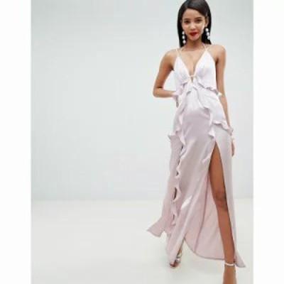 エイソス ワンピース deep plunge ruffle front satin maxi dress with open back Soft lavender