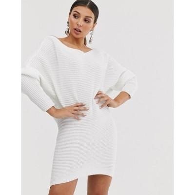エイソス レディース ワンピース トップス ASOS DESIGN ripple off shoulder sweater dress