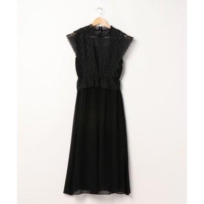 ドレス フラワーレースペプラム切り替えシフォンスカートワンピースドレス