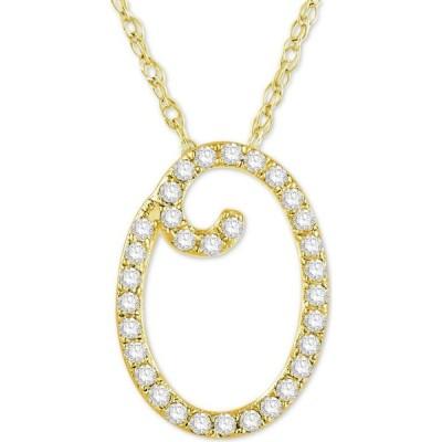 """メイシーズ Macy's ユニセックス ネックレス Diamond Initial Pendant Necklace (1/10 ct. t.w.) in 14k Gold Over Sterling Silver, 16"""" + 2"""" Extender"""