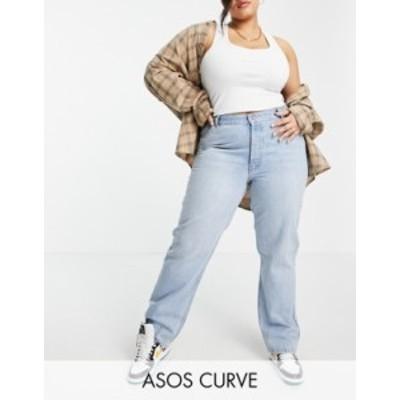 エイソス レディース デニムパンツ ボトムス ASOS DESIGN Curve organic mid rise 90s straight leg jeans in light wash Lightwash