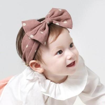 ヘアバンド ヘッドバンド カチューム 子供用 ベビー キッズ リボン ドット柄 水玉模様 ヘアアレンジ 髪飾り まとめ髪 ターバン ヘアアクセサリー