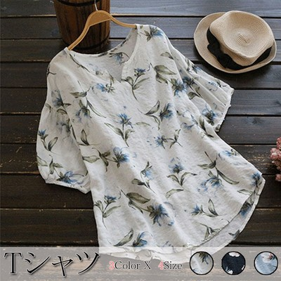 韓国Tシャツ--花柄Vネックコットンブラウスカットソー レディース ブラウス チュニック トップス vネック 体型カバー ゆったり 五分袖 花柄 大きいサイズ